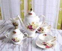 骨质瓷具咖啡具金边陶瓷