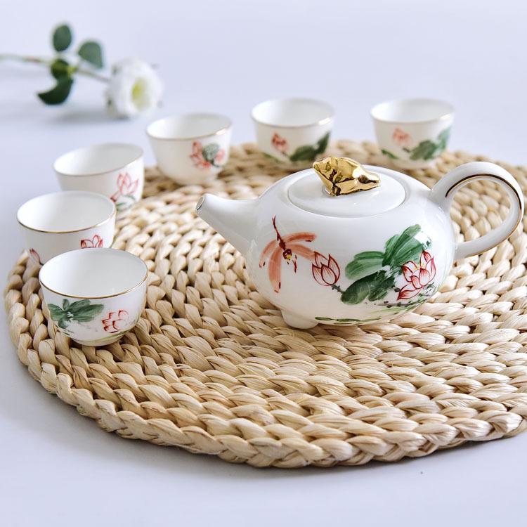 手绘精品骨质瓷茶具套装
