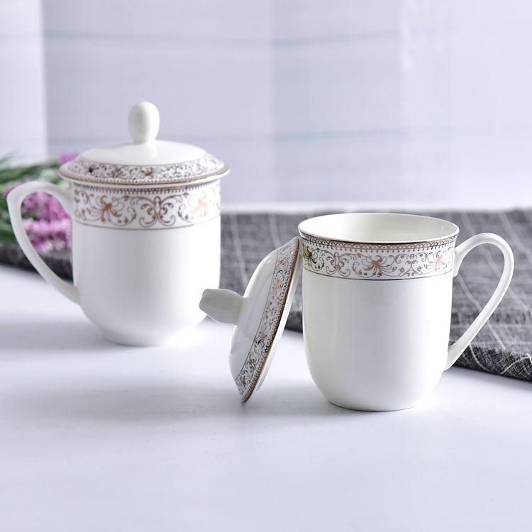 骨质瓷茶水杯 金边会议盖