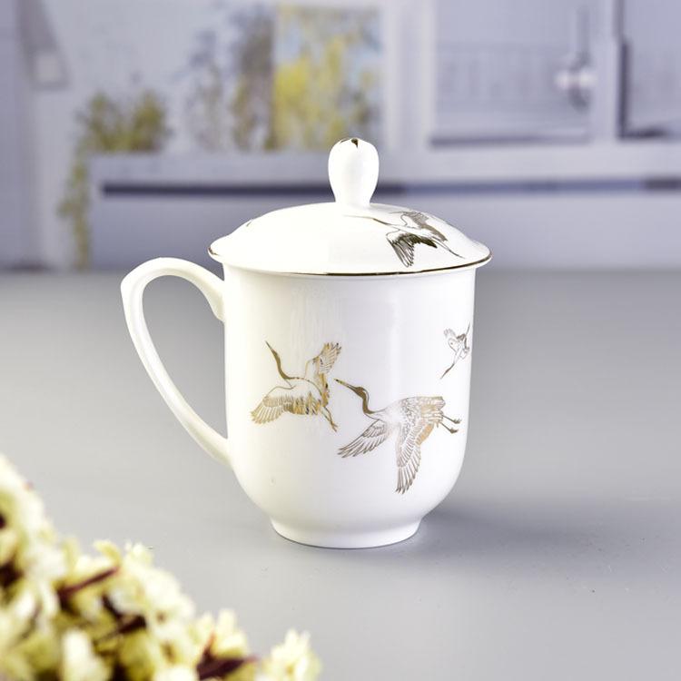 创意带盖陶瓷水杯 办公会