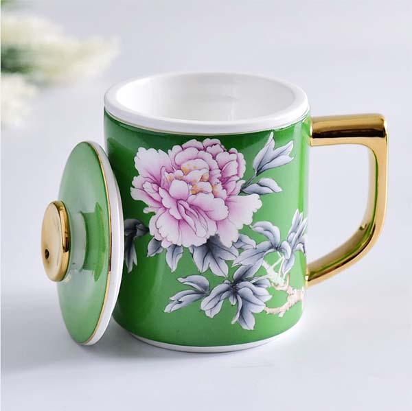 陶瓷水杯 骨质瓷描金盖杯
