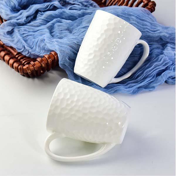 陶瓷浮雕水杯 骨瓷创意纯