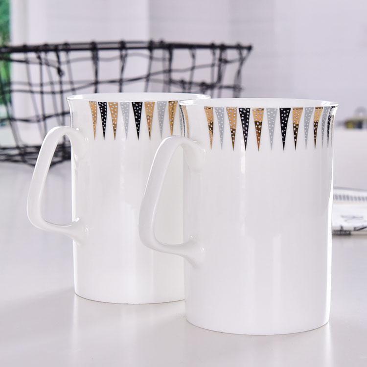 几何陶瓷奶水杯定制