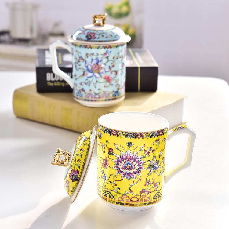 陶瓷珐琅彩盖水杯定制