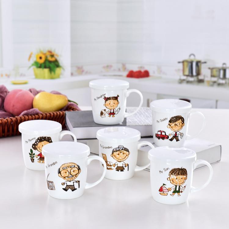 一家人陶瓷盖杯