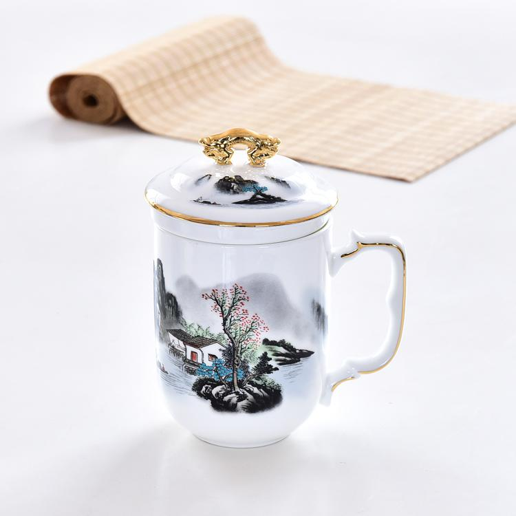 山水骨瓷茶漏盖杯定制