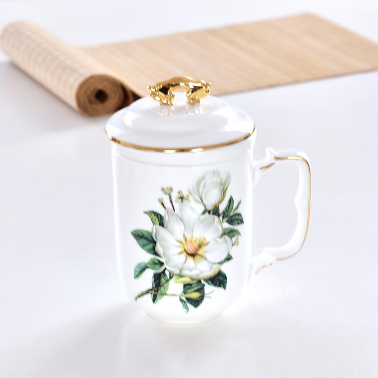 木棉花骨瓷茶漏盖杯定制