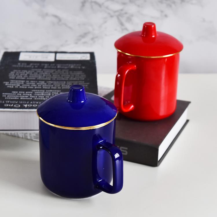 金边色釉骨瓷大茶杯