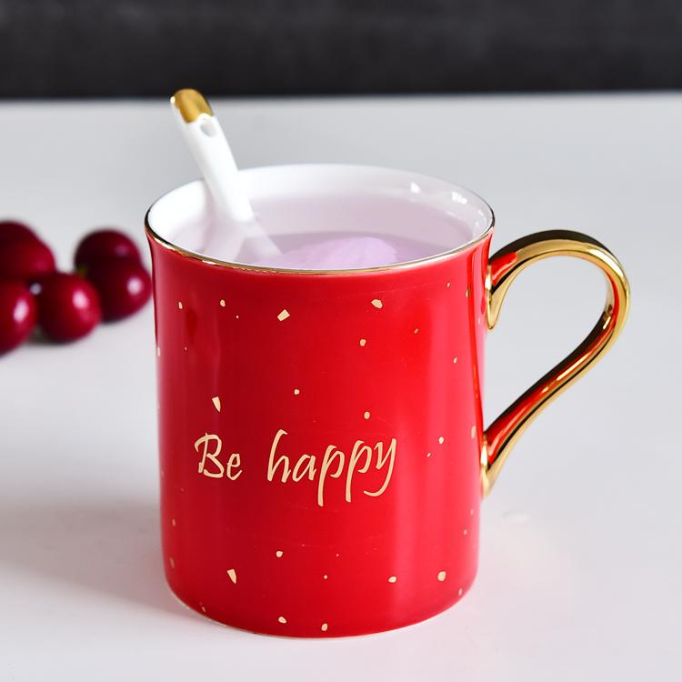 开心点红釉骨瓷杯定制