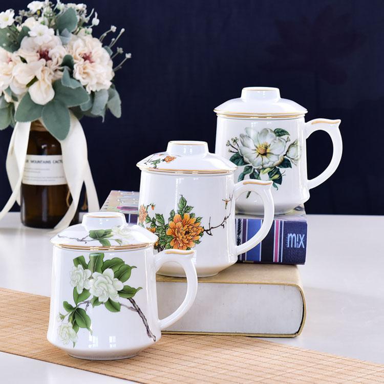木棉花骨瓷茶漏盖杯