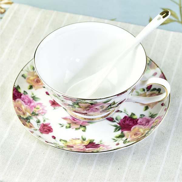 玫瑰骨质瓷咖啡杯碟