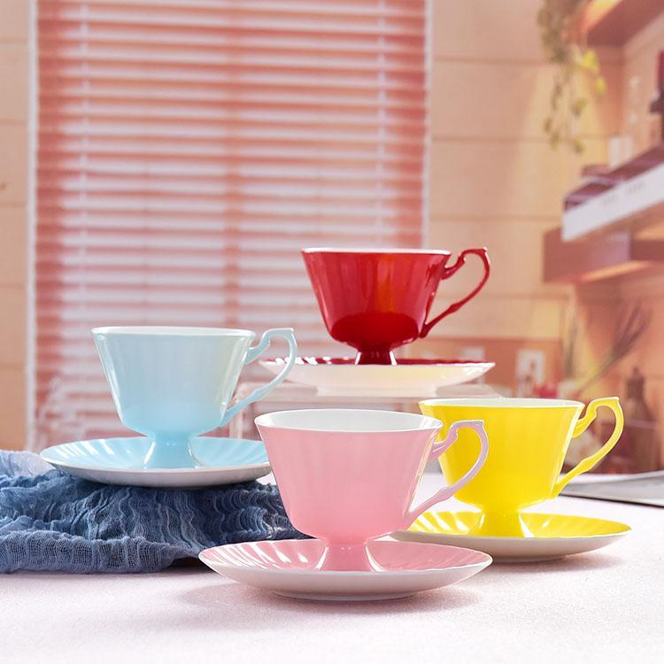 彩釉骨瓷咖啡杯碟
