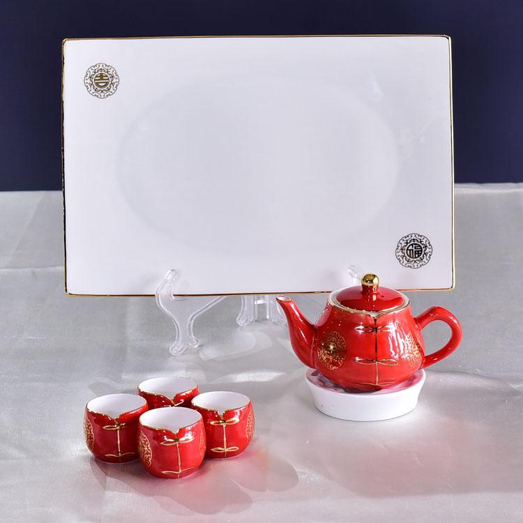 唐装骨瓷茶具套装