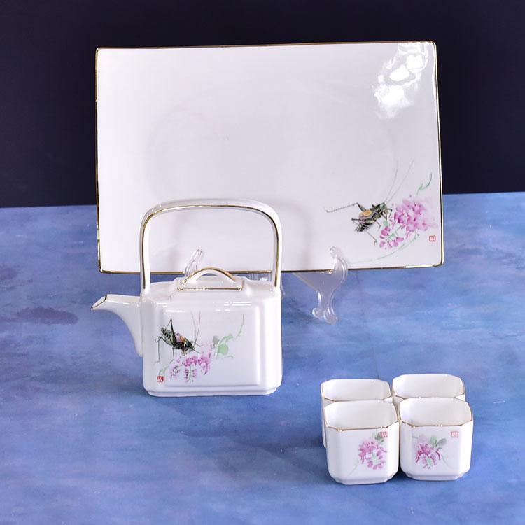 蝗虫粉骨瓷茶具套装