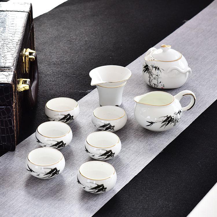 墨竹骨瓷茶具套装