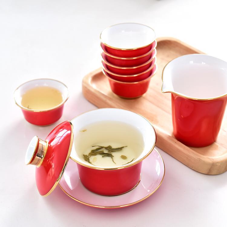 红釉骨瓷茶具套装
