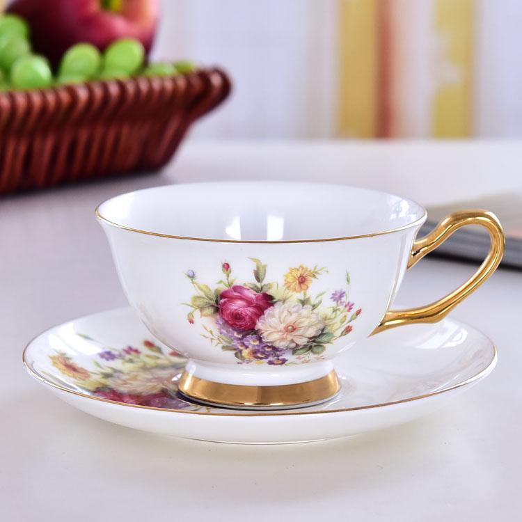 清芳玫瑰骨瓷咖啡杯碟