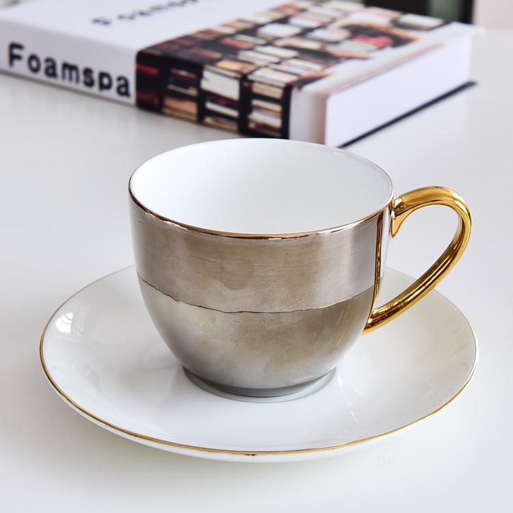 爱九描金骨瓷咖啡杯碟
