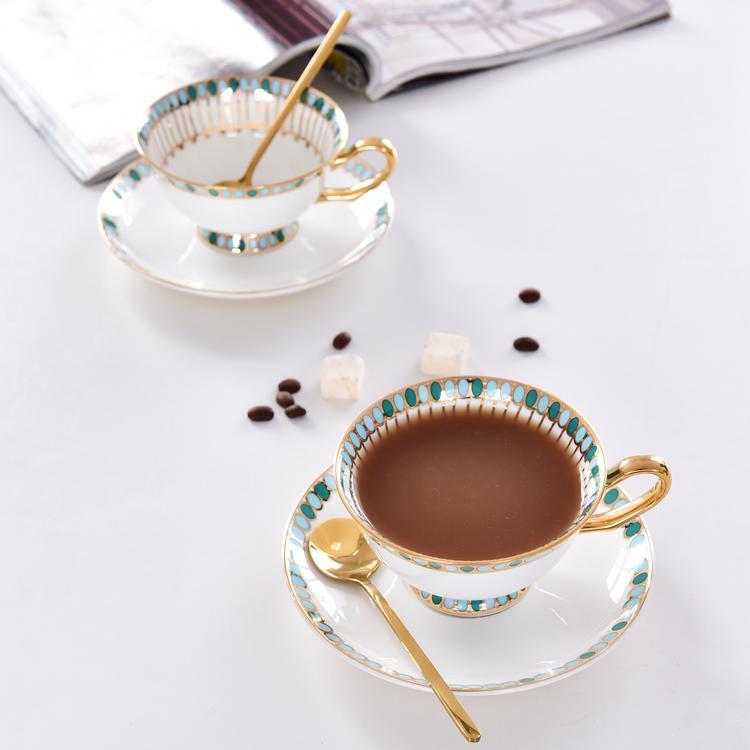 绿波点骨瓷咖啡杯碟