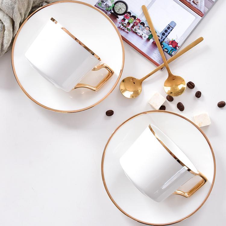 金边园林骨瓷咖啡杯碟