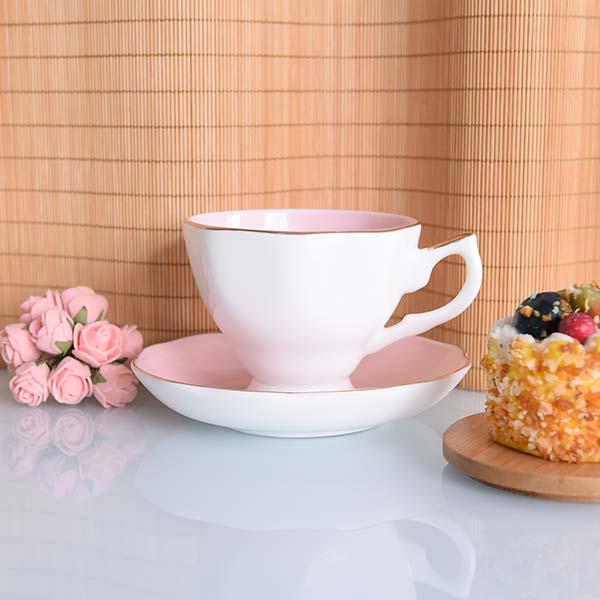 新德粉色釉骨瓷咖啡杯碟