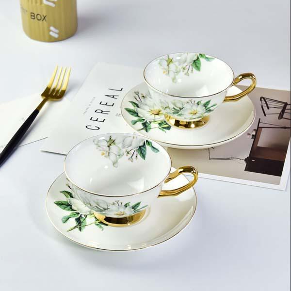 骨质瓷木棉花金箔咖啡杯