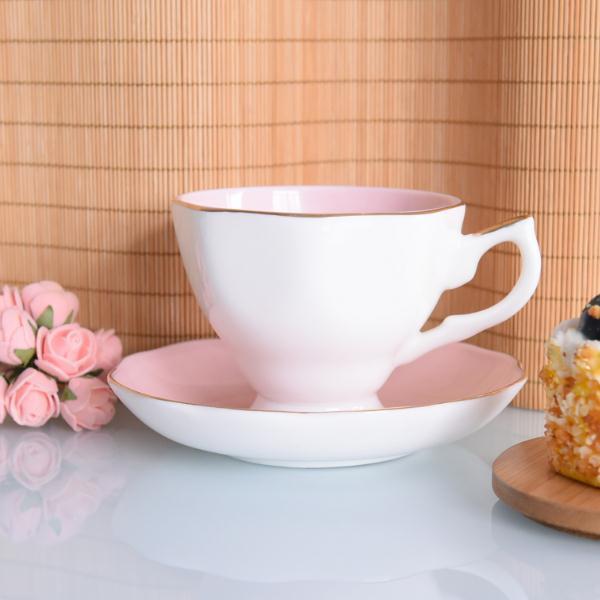 新德粉色釉骨瓷杯碟